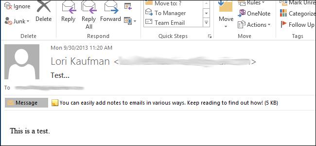 اضافه کردن یک یادداشت به یک پیام ایمیل در Outlook 2013