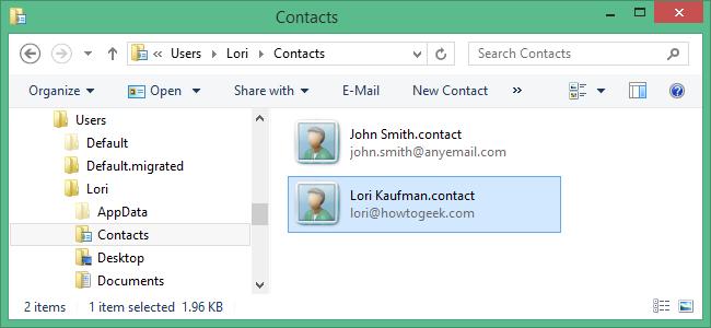 وارد کردن اطلاعات تماس به داخل و صدور اطلاعات تماس از ویندوز در پوشه تماس