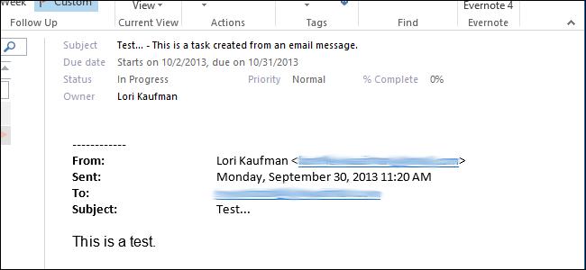 ایجاد یک Tasks از یک پیام ایمیل در Outlook 2013
