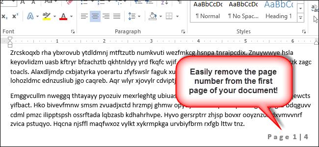 حذف شماره صفحه از صفحه اول Word 2013