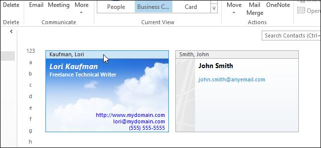 آموزش سفارشی کردن کارت کسب و کار (business card) در Outlook 2013