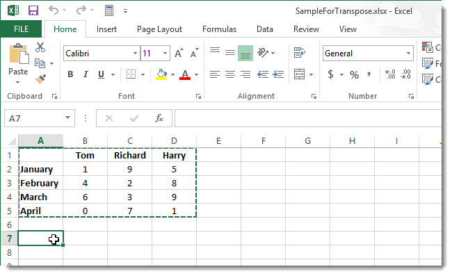 03 clicking in new cell ترانهادن سطرها و ستون ها در Excel 2013