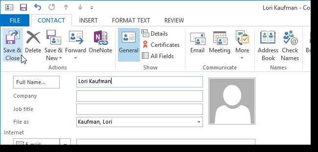 06 changing contact info آموزش سفارشی کردن کارت کسب و کار (business card) در Outlook 2013