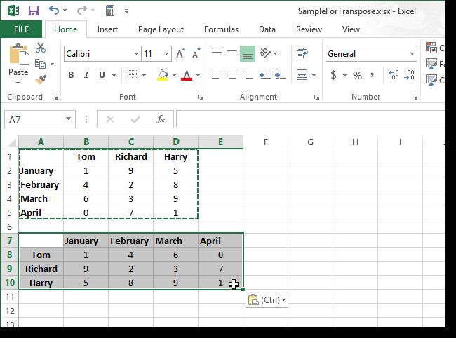 06 transposed cells ترانهادن سطرها و ستون ها در Excel 2013