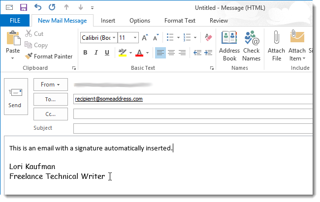 09 signature automatically inserted ایجاد یک امضا جدید در Outlook 2013