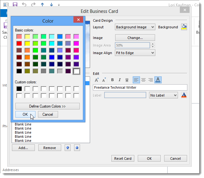 12 selecting white آموزش سفارشی کردن کارت کسب و کار (business card) در Outlook 2013