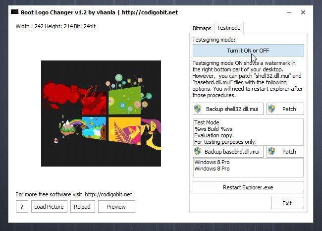 8oot Logo Changer Testing Mode 8oot Logo:نرم افزاری برای سفارشی کردن لوگو در ویندوز 8 و 8.1