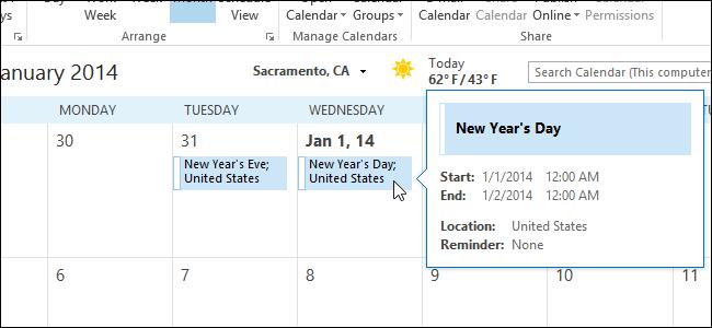 حذف تعطیلات از تقویم در Outlook 2013