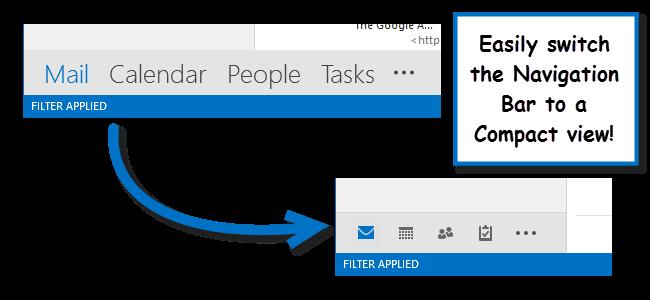 تبدیل کردن نوشته ها به صورت آیکون در پایین نرم افزار Outlook 2013