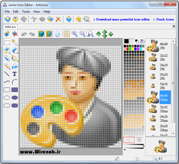 Junior Icon Editor:نرم افزاری برای ویرایش آیکون دسکتاپ ویندوز