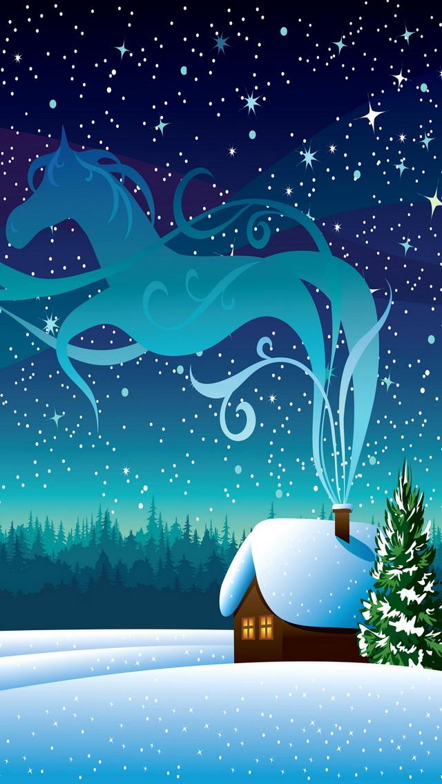 winter night مجموعه والپیپر با موضوع زمستان برای iPhone