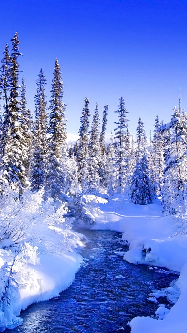 winter river مجموعه والپیپر با موضوع زمستان برای iPhone