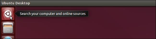 04 clicking search icon آموزش اضافه کردن دسکتاپ در تسک بار در اوبونتو  14.04