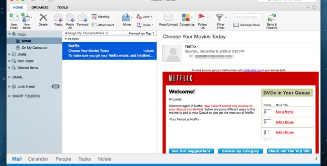 ایجاد ایمیل Gmail جدید در Outlook در سیستم عامل Mas OS X