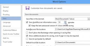 نحوه ی تغییر بازه ی زمانی ذخیر خودکادر در word 2013